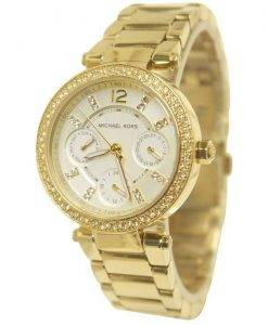 Michael Kors Mini Parker Champagne Glitz Dial Crystals MK6056 Womens Watch