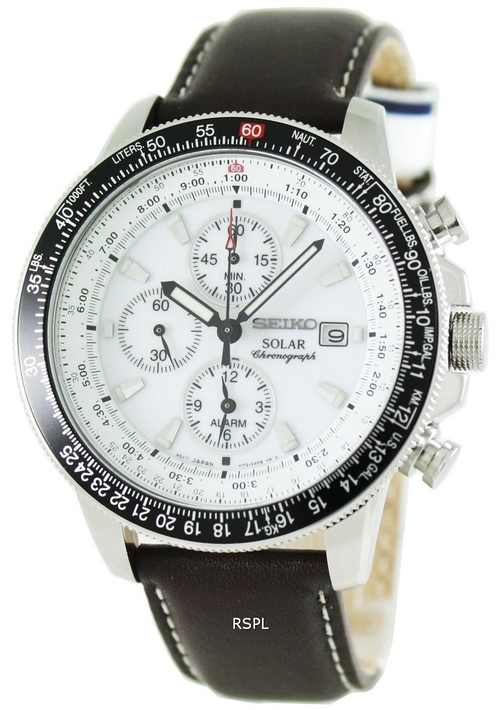 Seiko Pilots Solar Alarm Chronograph Flightmaster SSC013P1 ...