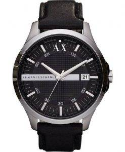 Armani Exchange Black Dial Leather Strap AX2101 Mens Watch