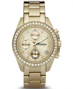 Fossil Decker Chronograph Crystals Gold-Tone ES2683 Womens Watch