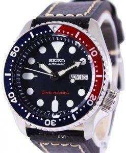 Seiko Automatic Divers Black Leather SKX009K1-LS2 200M Mens Watch