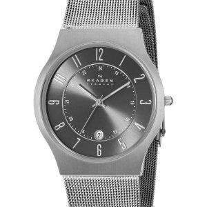 Skagen Gunmetal Grey Dial Titanium Case Mesh Bracelet 233XLTTM Mens Watch