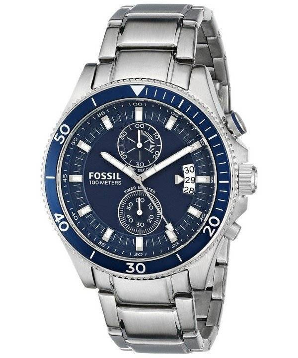 Fossil Wakefield Chronograph Blue Dial Stainless Steel ...