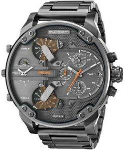 Diesel Daddies Gunmetal Ion-Plated Chronograph Four Time Zone Dial DZ7315 Mens Watch