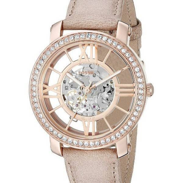 fossil curiosity automatic skeleton crystals dial beige leather me3060 womens watch singapore. Black Bedroom Furniture Sets. Home Design Ideas