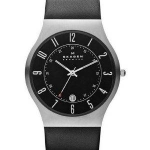 Skagen Grenen Classic Black Dial Black Leather 233XXLSLB Mens Watch