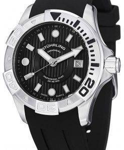 Stuhrling Original Aqua Diver Manta Ray Swiss Quartz Black Dial 718.02 Mens Watch