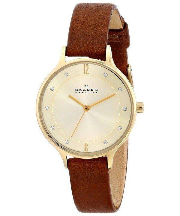 Skagen Anita Gold Dial Brown Leather Crystallized SKW2147 Womens Watch