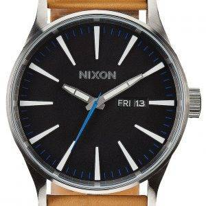 Nixon Quartz Sentry Leather Black Dial A105-1602-00 Mens Watch