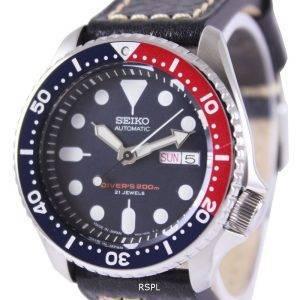 Seiko Automatic Divers Ratio Black Leather SKX009J1-LS2 200M Mens Watch