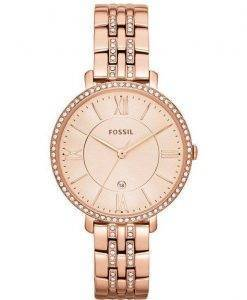 Fossil Jacqueline Quartz Rose Gold Crystals Accents ES3546 Womens Watch
