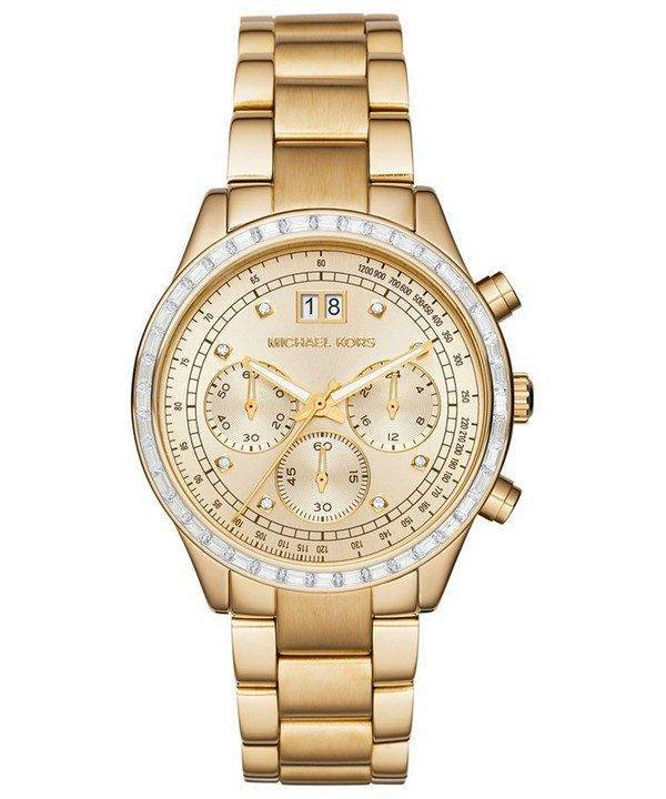 b75750da6b46 Michael Kors Brinkley Chronograph Gold Tone Crystals MK6187 Womens Watch  Singapore