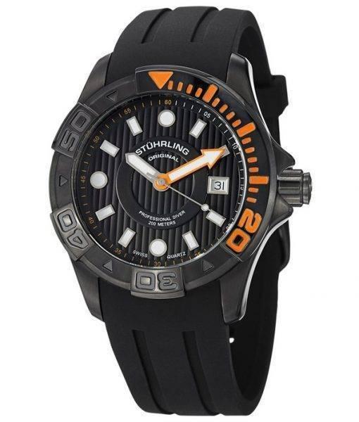 Stuhrling Original Aquadiver Manta Ray Swiss Quartz 718.04 Mens Watch