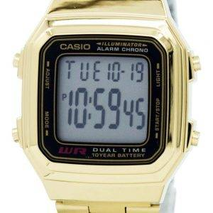 Casio Digital Stainless Steel Alarm Chrono Dual Time A178WGA-1ADF A178WGA-1A Mens Watch