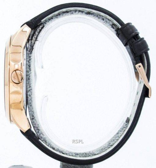 Armani Exchange Rose Gold Black Dial Leather Strap AX2129 Mens Watch