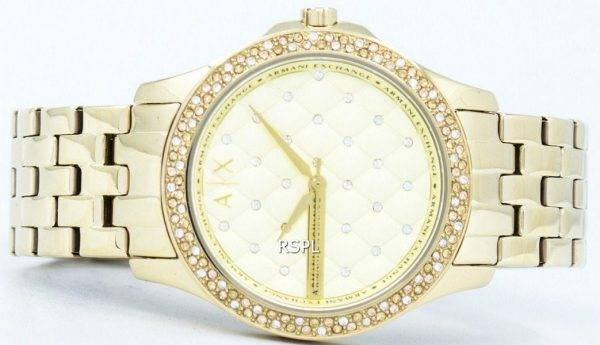 Armani Exchange Lady Hampton Champagne Quilted Dial Cyrstals AX5216 Womens Watch