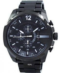 Diesel Mega Chief Quartz Chronograph Grey Dial Black IP DZ4283 Mens Watch