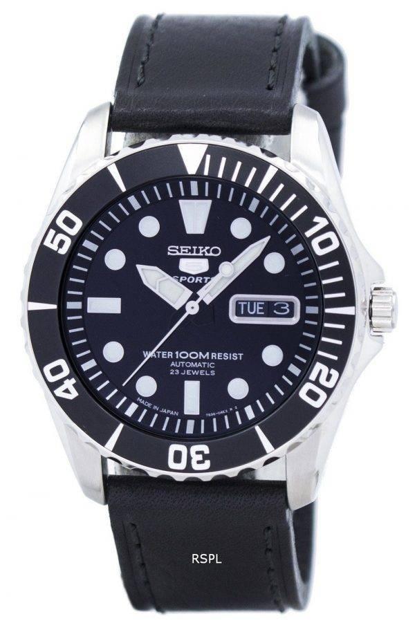 Seiko 5 Sports Automatic 23 Jewels Ratio Black Leather SNZF17J1-LS8 Men's Watch