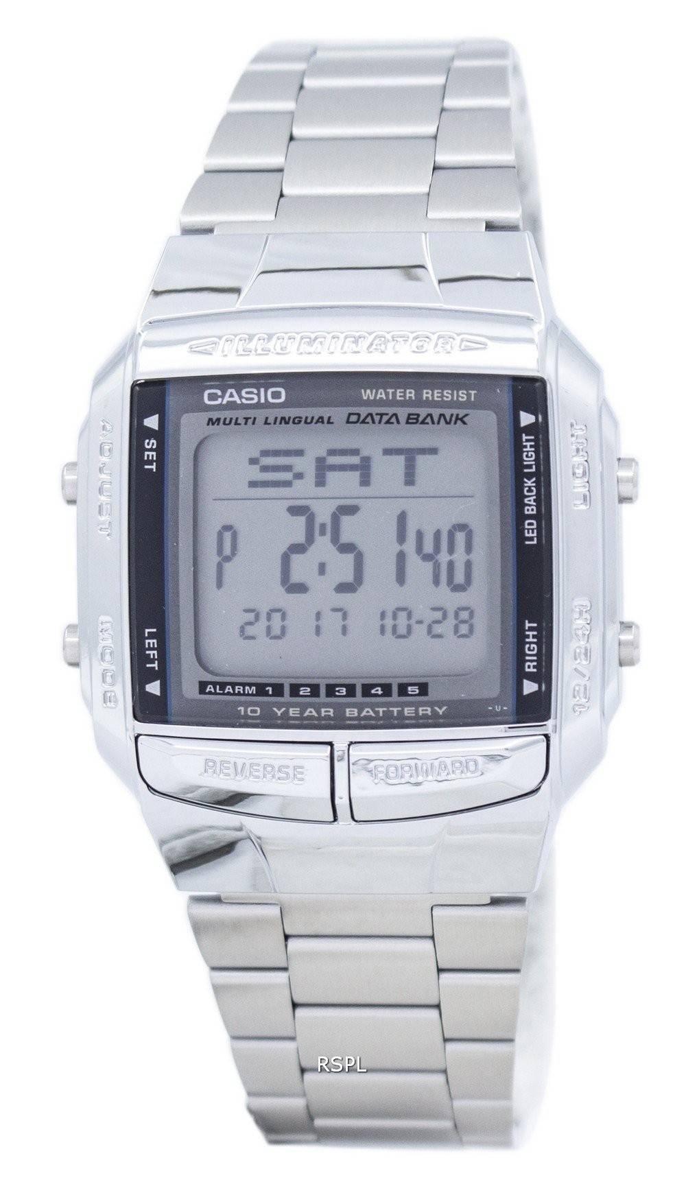 9efdfea2bd0 Casio Data Bank Illuminator Dual Time Alarm Digital DB-360 .