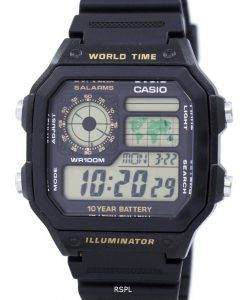 Casio Youth Series Digital World Time AE-1200WH-1BVDF AE-1200WH-1BV Mens Watch