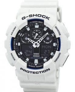 Casio G-Shock World Time White Analog Digital GA-100B-7A Mens Watch