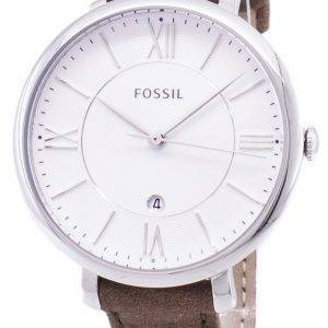 Fossil Jacqueline Silver Dial Tan Leather Strap ES3708 Womens Watch