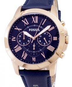 Fossil Grant Chronograph Blue Leather Strap FS4835 Mens Watch