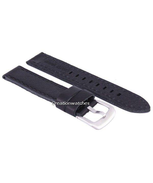 Black Ratio Brand Leather Strap 20mm