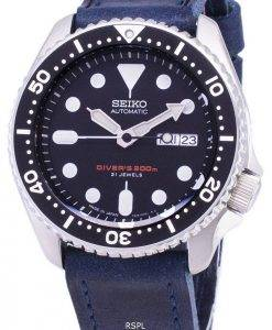 Seiko Automatic SKX007J1-LS13 Diver's 200M Japan Made Blue Leather Strap Men's Watch