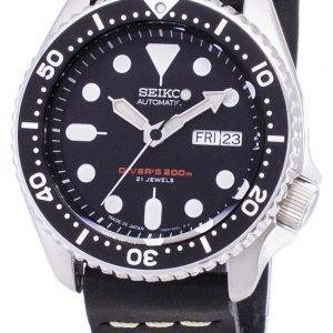 Seiko Automatic SKX007J1-LS14 Diver's 200M Japan Made Black Leather Strap Men's Watch