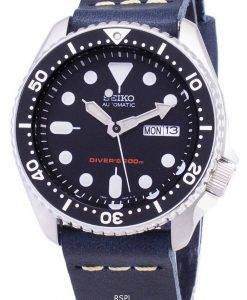 Seiko Automatic SKX007K1-LS15 200M Dark Blue Leather Strap Men's Watch
