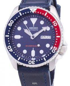 Seiko Automatic SKX009K1-LS13 Diver's 200M Dark Blue Leather Strap Men's Watch