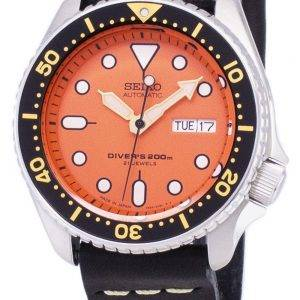Seiko Automatic SKX011J1-LS14 Diver's 200M Japan Made Black Leather Strap Men's Watch