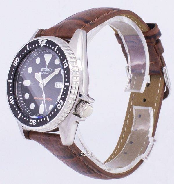 Seiko Automatic SKX013K1-MS2 Diver's 200M Brown Leather Strap Men's Watch