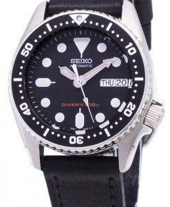 Seiko Automatic SKX013K1-MS3 Diver's 200M Black Leather Strap Men's Watch