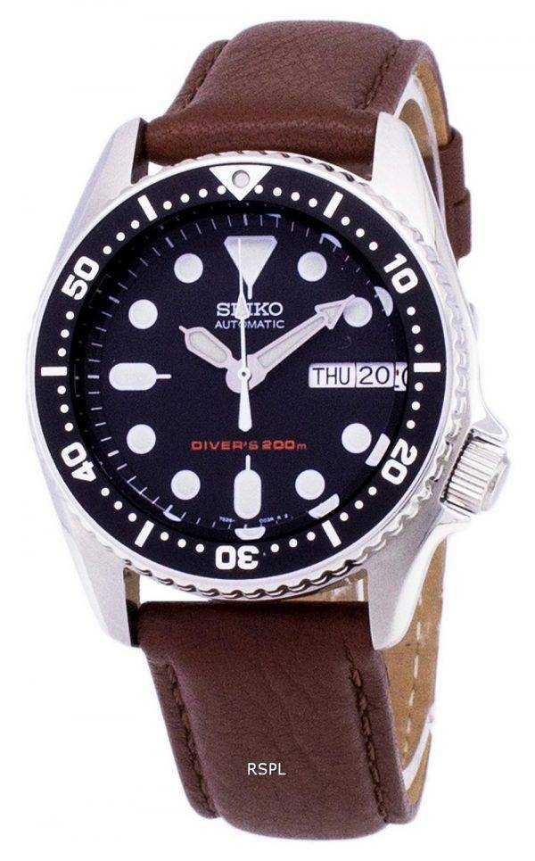Seiko Automatic SKX013K1-MS7 Diver's 200M Brown Leather Strap Men's Watch