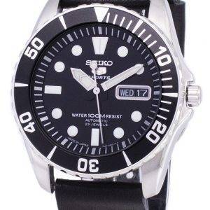 Seiko 5 Sports SNZF17J1-LS14 Automatic Japan Made Black Leather Strap Men's Watch