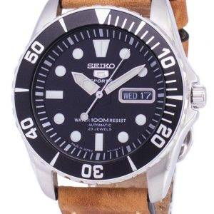 Seiko 5 Sports SNZF17J1-LS17 Automatic Japan Made Brown Leather Strap Men's Watch