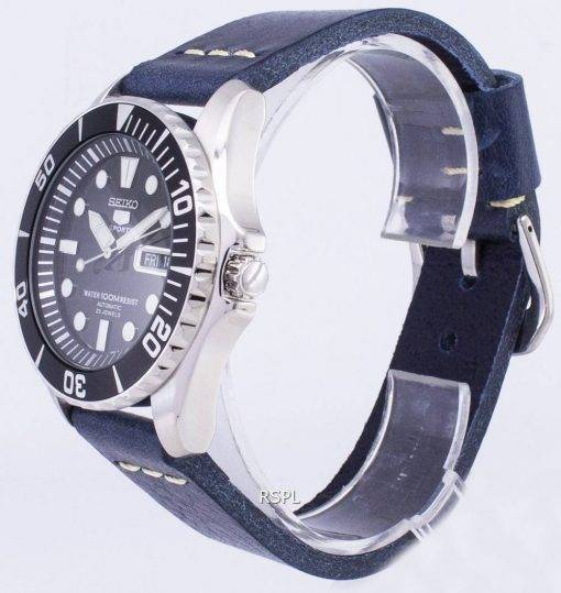 Seiko 5 Sports SNZF17K1-LS15 Automatic Dark Blue Leather Strap Men's Watch
