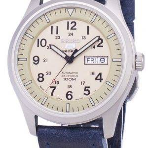 Seiko 5 Sports SNZG07J1-LS13 Military Japan Made Dark Blue Leather Strap Men's Watch