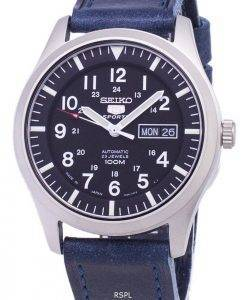 Seiko 5 Sports SNZG15J1-LS13 Japan Made Dark Blue Leather Strap Men's Watch