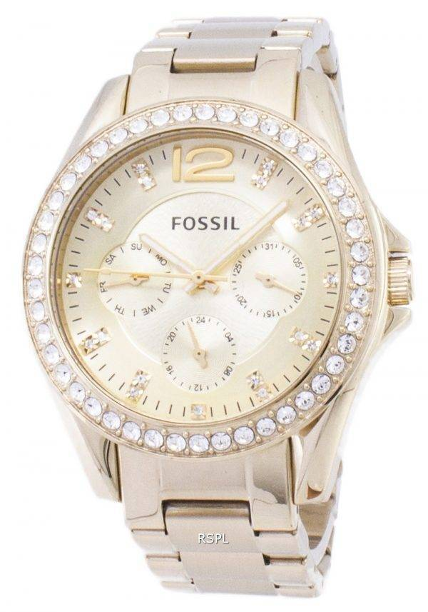 Fossil Riley Multifunction Gold Tone Crystal Dial ES3203 Womens Watch