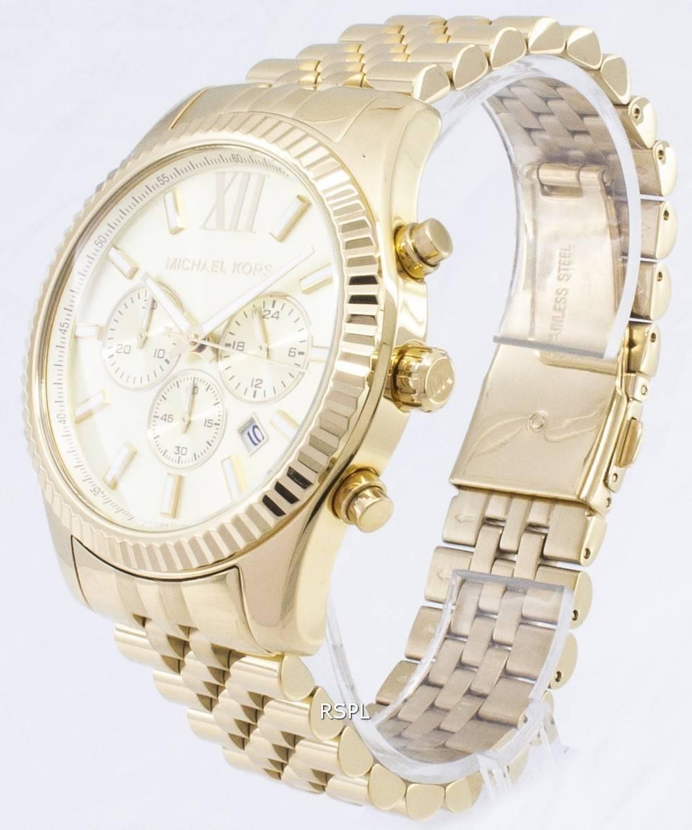 5d1bd56a7d13 Michael Kors Lexington Chronograph Champagne Dial MK8281 Mens Watch ...