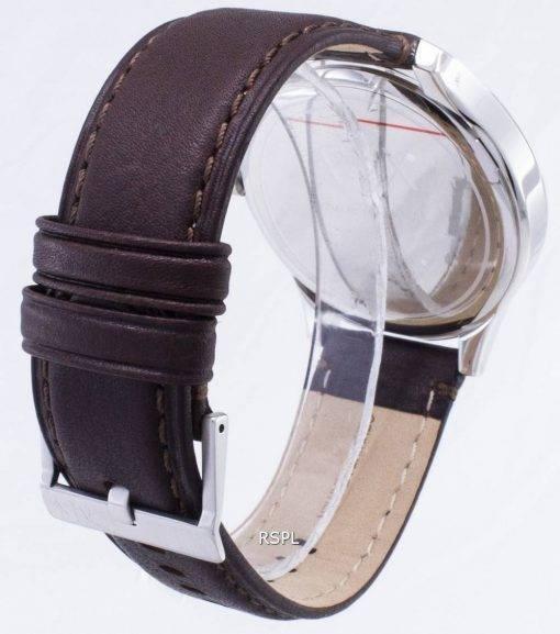 Armani Exchange Quartz Navy Dial Brown Leather Strap AX2133 Mens Watch