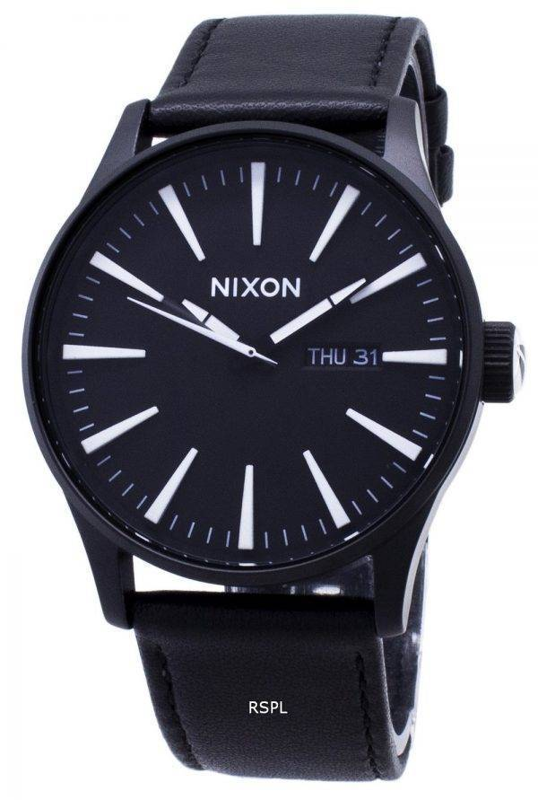Nixon Quartz Sentry Black Leather A105-005-00 Mens Watch